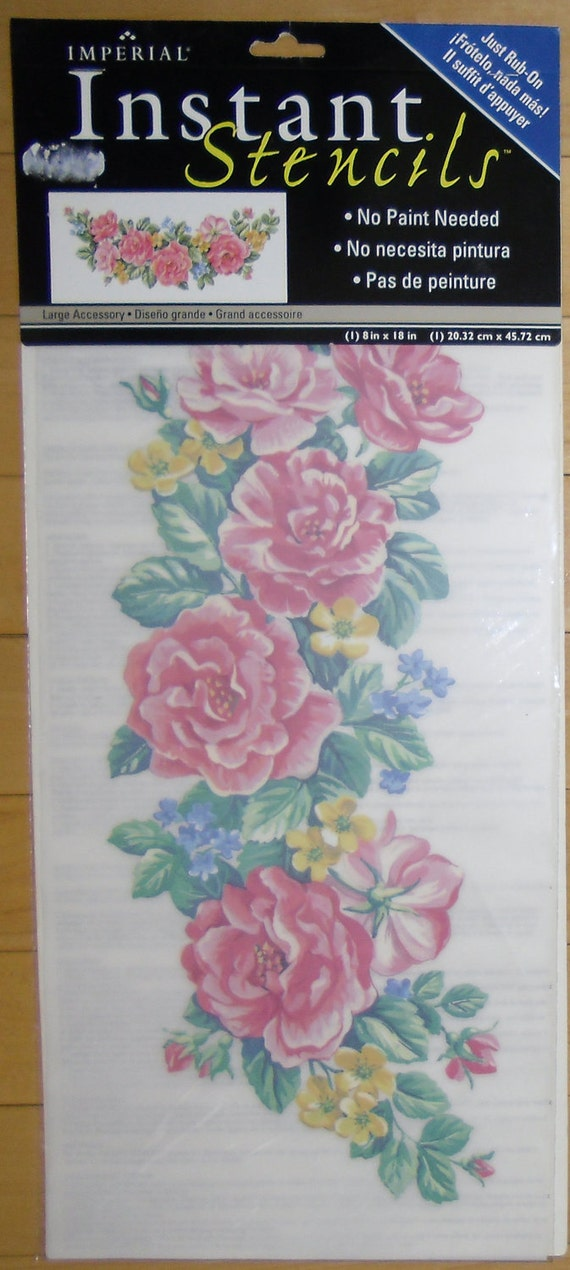 Stencils instant rub on roses by imperial home decor group for Imperial home decor