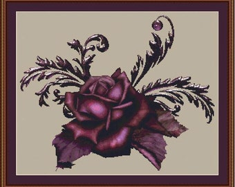 Cross Stitch Pattern Burgandy Beauty Instant Download PdF Floral Flower Rose
