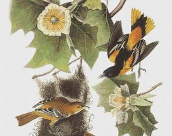 Cross Stitch Pattern Vintage Birds Instant Download PdF Antique Art Floral