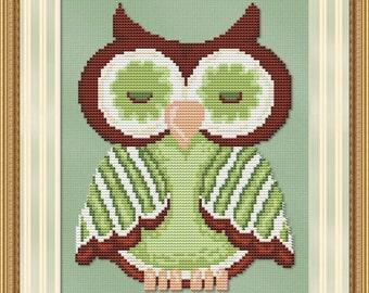 Cross Stitch Pattern Green Hoot Owl Bird Instant Download PdF