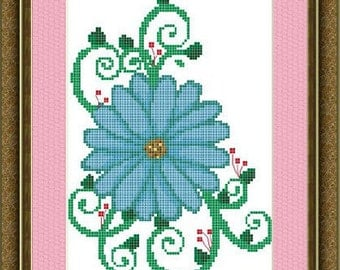 Cross Stitch Pattern Swirly Flowers No. 2 Instant Download PdF
