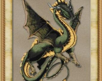 Cross Stitch Pattern Friendly Dragon Fantasy Design Instant Download PdF