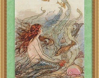 Cross Stitch Pattern Vintage Mermaid Instant Download PdF