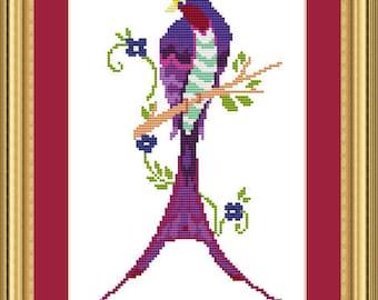 Cross Stitch Pattern Art Deco Bird 2 Instant Download PdF