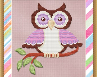 Cross Stitch Pattern Purple Hoot Owl Instant Download PdF