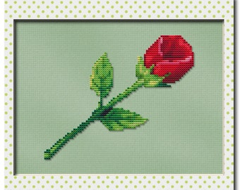 Cross Stitch Pattern Single Red Rose Instant Download PdF