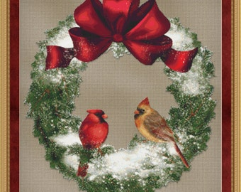Cross Stitch Pattern Bird Wreath Holiday Christmas Winter Design Instant Download PdF