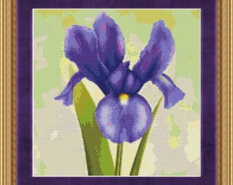 Cross Stitch Pattern Blue Iris Realistic Floral Instant Download PdF