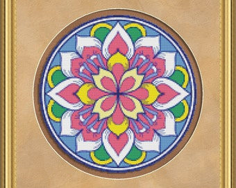 Cross Stitch Pattern Floral Medallion No. 3 Abstract Colorful Design Instant Download PdF