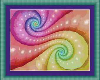 Cross Stitch Pattern Colorssss Fractal Design Instant Download PdF Digital Art Design