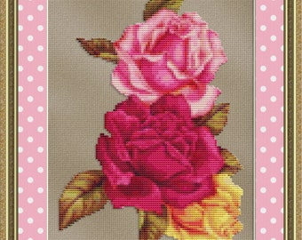 Cross Stitch Pattern Rose Trio (Small) Floral Design Instant Download PdF