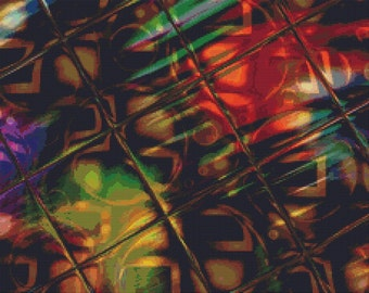 Counted Cross Stitch Pattern Art Glass No. 3 Fractal Abstract Design Instant Download pdf - StitchX