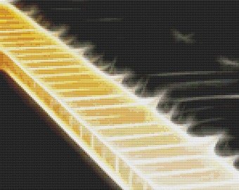 Cross Stitch Pattern Piano Abstract Music for Musicians Instant Download PdF