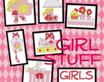 Counted Cross Stitch Pattern Girl Stuff - 7 Designs Cute Instant Download PdF - StitchX Best Seller