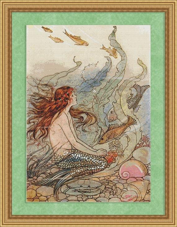 Cross Stitch Pattern Vintage Mermaid Instant Download PdF