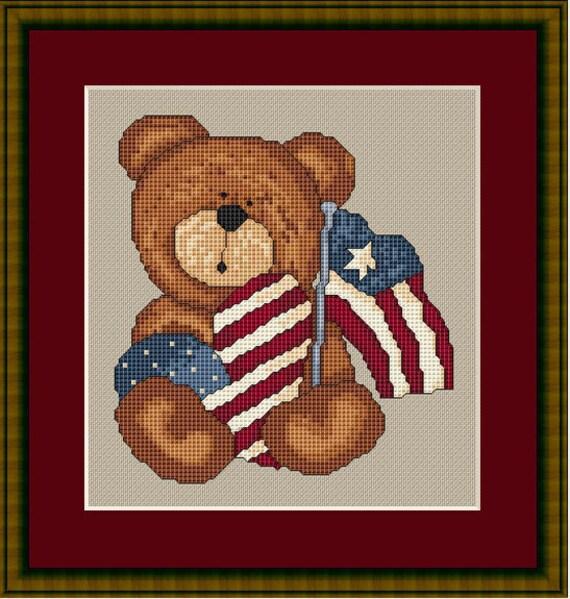 Cross Stitch Pattern Patriotic Bear Teddy Americana Instant Download PdF
