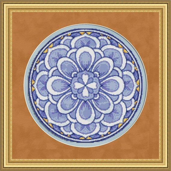 Cross Stitch Pattern Floral Medallion No. 1 Exquisite Geometric Design Instant Download PdF