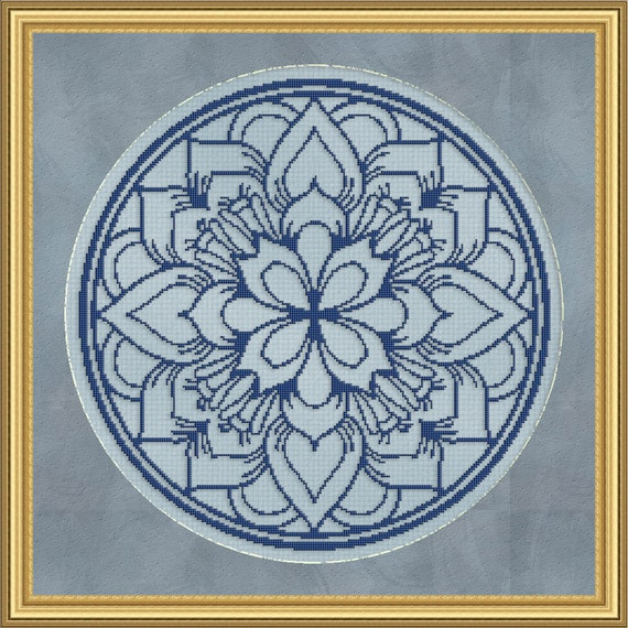 Cross Stitch Pattern Floral Medallion Monochrome 5 Instant Download PdF