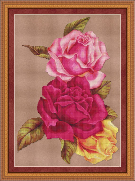 Cross Stitch Pattern Rose Trio (Large) Red, Pink, Yellow Roses Instant Download PdF