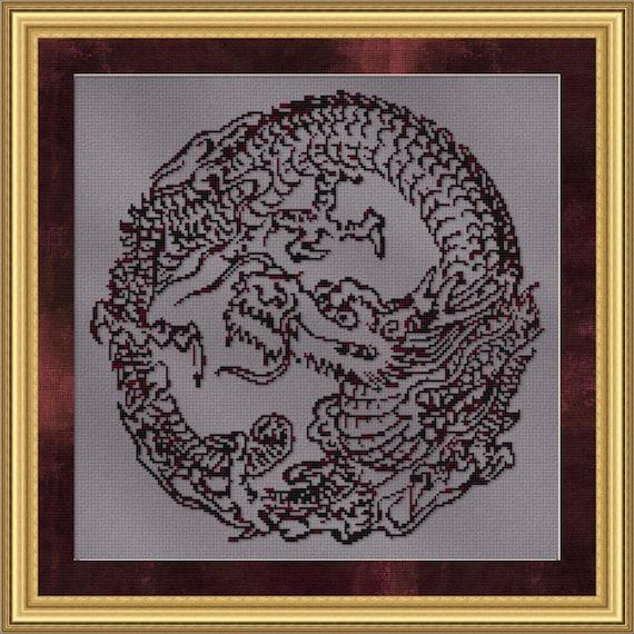 Cross Stitch Pattern Oriental Dragon Circle Vintage Style Design Instant Download PdF