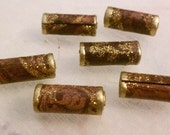 Paper Bead Set Rich Chocolate Browns and Gold, Handmade Loose Beads Set of 6