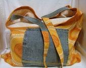 Beach Bag Orange and Denim