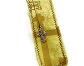 Bookmark - Gold with Brown- Cross Charm