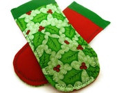 Pot Holder Handles- Christmas Holly Red and Green- OOAK