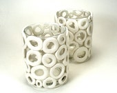 White Bubbles Set of 2 Glass Votive Candle Holders - Effervescent / Gift under 30, Retro, Bridal, Circles, Home Decor