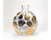 Gold and Silver Leopard Design Glass Vase - Untamed / Home Decor, Animal Print, Table Art,