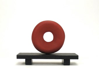 Red Zen Disc Enso Art Sculpture - Reflect /  Clay, Minimalism, Home Decor, Coffee Table Decor, Desk Decor, Miniature Art