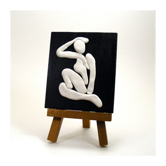 White Clay Papercut Inspired Silhouette Home Decor - Thoughtful /  Black and White, Table Art, Female Figure,
