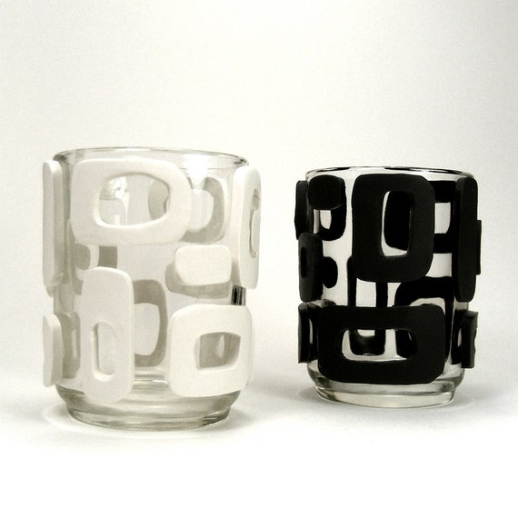 Black & White Clay Mod Set of Glass Votive Candle Holders - Retro / Gift under 30, Mid Century Modern, Votives, Geometric
