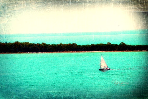 Sail Away- Beach photography.  Fine art Photography print of sail boat. Blue green teal water.