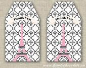 Paris Party Favor Tags - DIY Printable Favor Tags. Paris Chic. Black & Pink