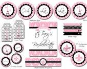Paris Bridal Shower Decorations - Paris Party Package. DIY Print-Yourself Party Decor.