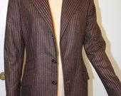 New Ralph Lauren Collection Brown Women  Wool Button Up Blazer Jacket Sz 8