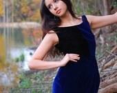 Black Blue Velvet Dress - Elegant Dark Pixie Petal Skirt - Indie Designer