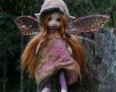 June Sale sweet 5in redhaired  posable forest  fairy fairie with removable wings ooak