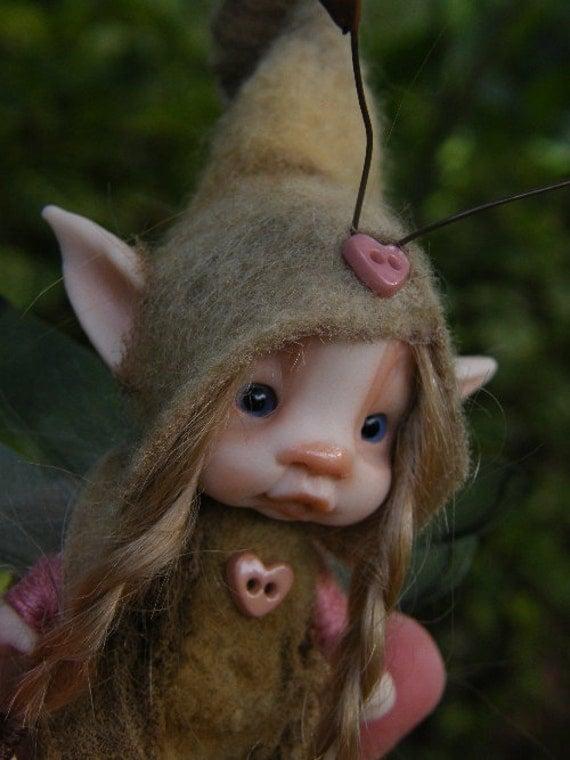 sweet  tiny fairie fairy  bug ooak polymer posable