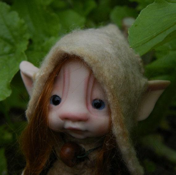 sweet redhaired  tiny fairie fairy  bug ooak polymer posable