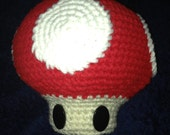 Large Red Power-Up or Green 1-up Crocheted Amigurumi Super Mario Mushroom Plushie
