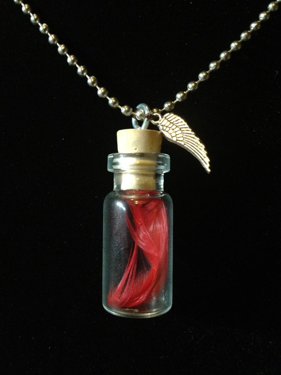Final Fantasy Phoenix Down or Chocobo Feather Potion Bottle Pendant Necklace or Phone Strap