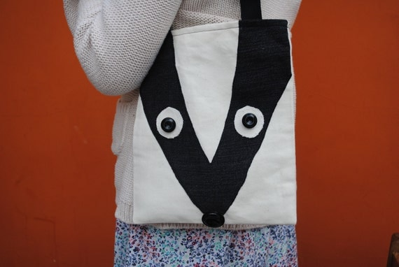Small Denim Tote Bag, Badger