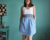 Racerback Dress with grey waist, pinstripe skirt in blue and white, size Medium