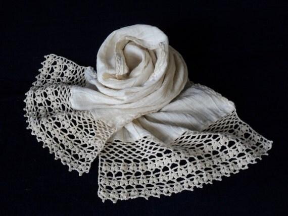 Lovely creamy white cotton scarf.