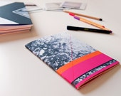 Notebook, A5 sized, pink and orange, geometric shapes and flower photo cover, perfect bound