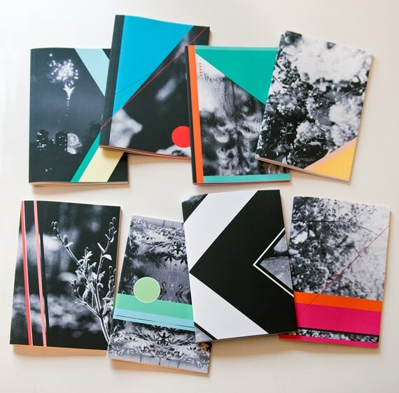 Any Notebook, A5 sized, geometric shapes and black and white photo cover, perfect bound