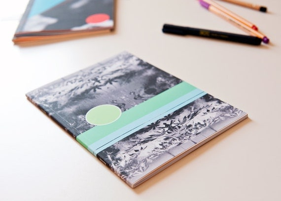 Notebook, A5 sized, green circle and geometric shapes with greenhouse photo cover, perfect bound
