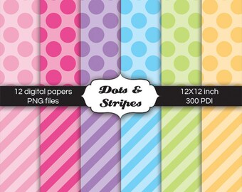 Digital Paper Pack Dots and Stripes for digital scrapbooking, stationary, cards, invitations